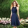 2017 Elegante Cabestro Corto Azul Marino Vestido de dama de Honor de Encaje Recorte Volver Gasa de La Rodilla-Longitud Vestidos de dama de Honor Baratos Vestidos