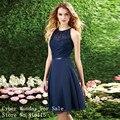 2017 Elegante Halter Curto Azul Marinho Da Dama de honra Do Laço Vestido De Recorte de Volta Chiffon Do Joelho-Comprimento Vestidos de Dama de Honra Baratos