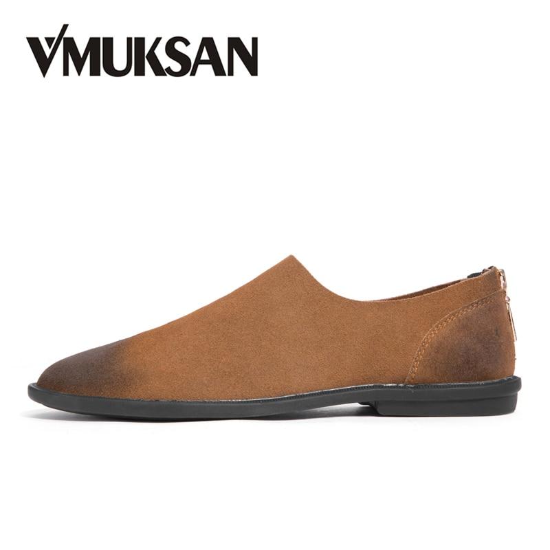 где купить VMUKSAN High Quality Suede Leather Casual Shoes Men Fashion Spring Comfortable Mens Shoes Slip-On Brown Black Loafers Man по лучшей цене