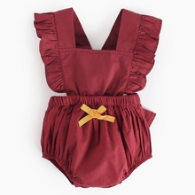 Summer Cute red Ins Baby Girls Clothes Jumpsuit Romper 0-24M Age Ifant Toddler Newborn Outfits Set Hot Sale