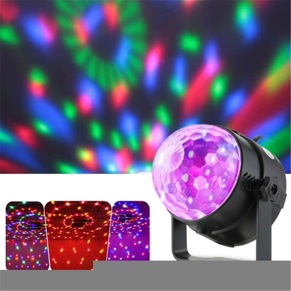 Auto Sound Activated 3W RGB LED Mini Crystal Magic Rotating Ball Effect LED Stage Lights for KTV Xmas Party Wedding Show Club Pu