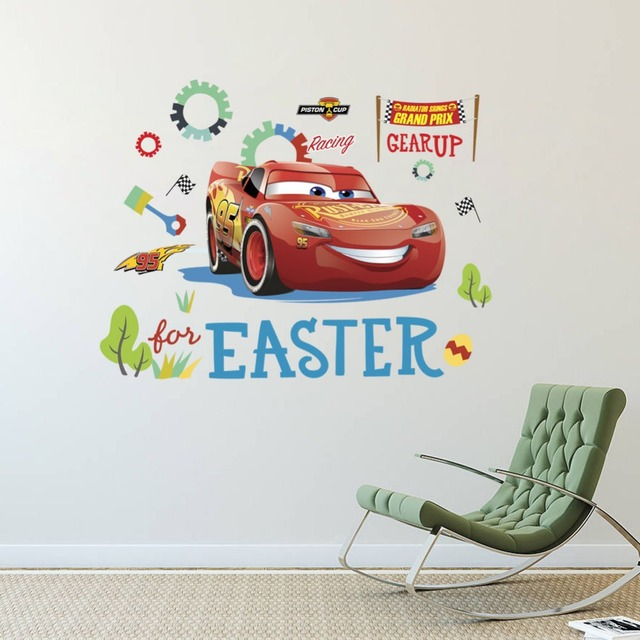 Super Cars Lightning McQueen Wall Stickers For Boys Room Bedroom ...
