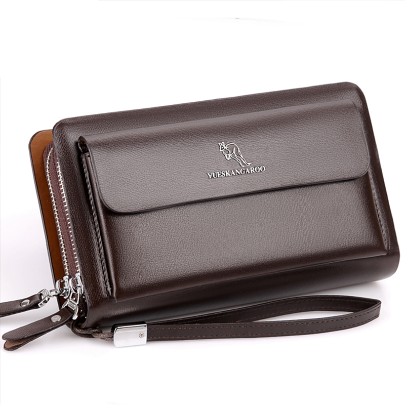 Prettyzys Business Wallet Clutch-Bag Long Purse Brown Black Double-Zipper Male Fashion