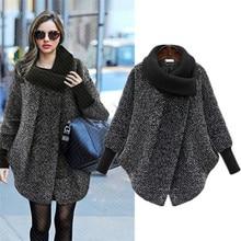 2019 Plus Size Bat Sleeved Woolen Coat Scarf Collar Jackets Women Winter Fashion Outerwear Thicker Loose Coat Zipper Casual X848 цена в Москве и Питере