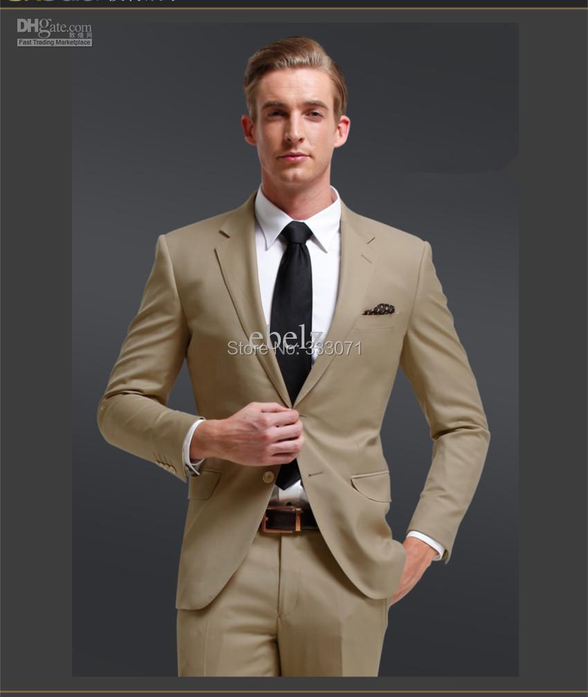 206a654bbf Custom made 2015 new khaki Beige Groom Suits Tuxedos Slim fit Best man  Groomsman Men party Wedding Dress Jacket+Pant+tie