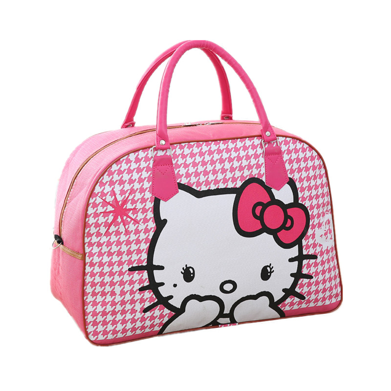 Women PU Leather Travel Bag Cute Hello Kitty Packing Cubes Duffel Pouch  Organizer Luggage Accessory Overnight Weekend Handbag-in Travel Bags from  Luggage ... b875f34124bdb