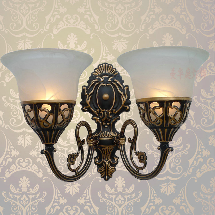 lamps Special offer European style wall lamp Antique Iron Lamp bedside bedroom living room mirror retro aisle wall B2-107