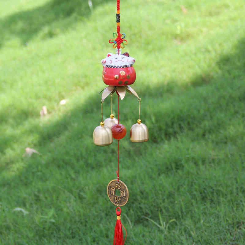 Creative Hangings Auspicious Chinese Knot 3 To 6 Brass Bells Ceramic Lucky Cat Chime Shop Home Decor Lover's Wedding Gifts