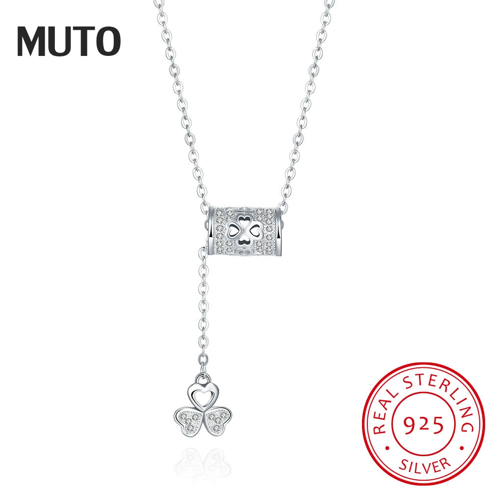 d92da5348 MUTO Clover Flower Style Cubic Zirconia Women 925 Sterling Silver Fine Jewelry  Fashion Woman Pendant Necklace SVXL7003-in Necklaces from Jewelry & ...
