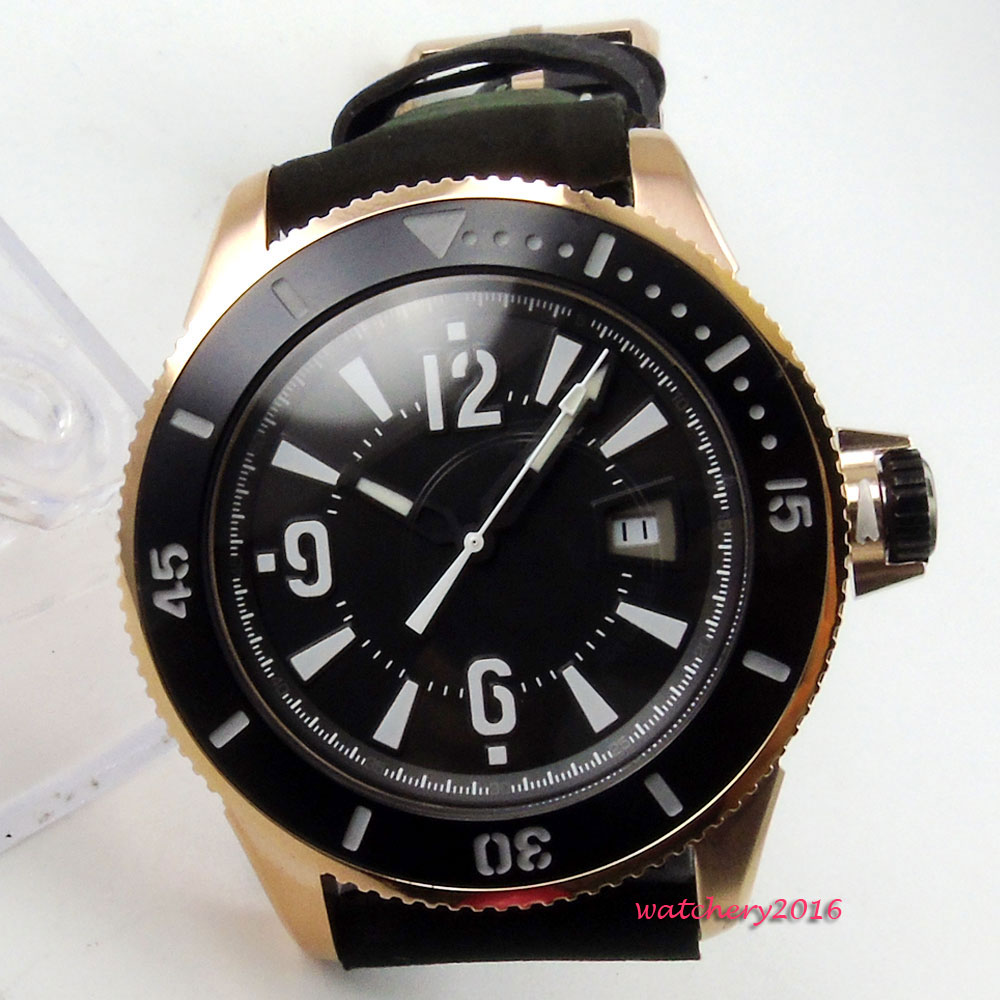 43mm Bliger Black dial White marks SS Rose Golden Case pin buckle Complete Calendar MIYOTA Automatic Mechanical Men's Watch цена