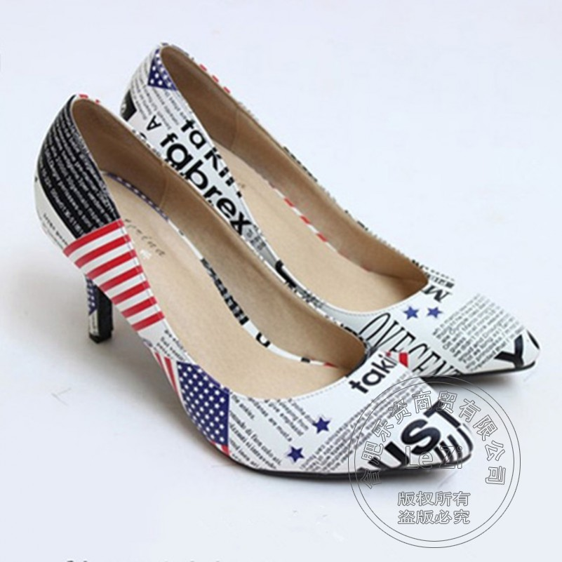 British Style Fashion 2014 Pumps New American Flag Pattern Pointed Toe Low Cut Uppers Stilletos Shoes