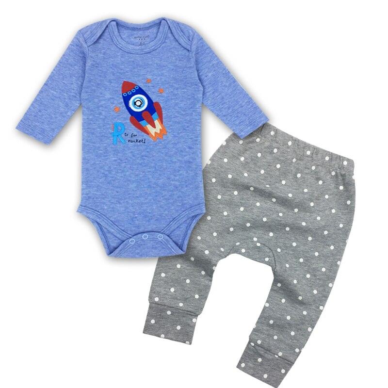 Baby body en baby broek pak 100% katoen, O-hals lange mouwen kleding - Babykleding - Foto 2
