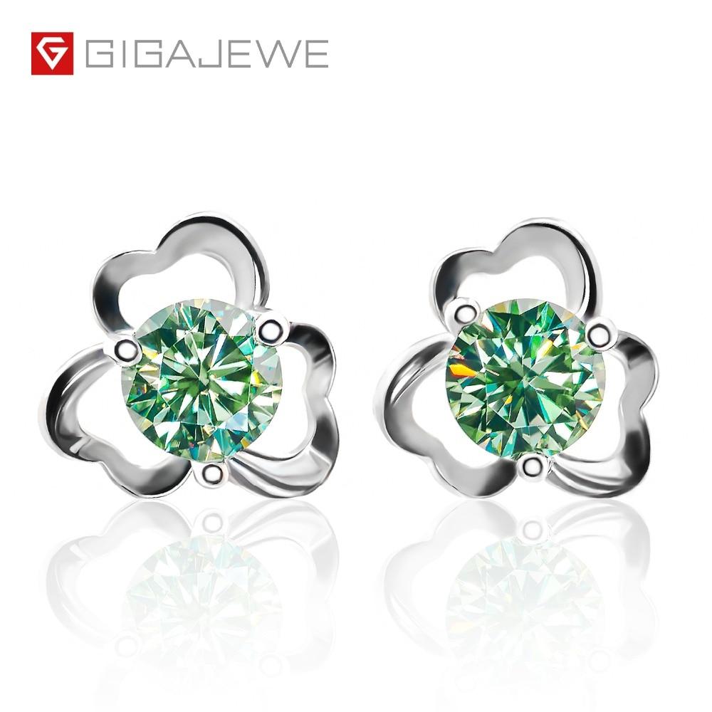 GIGAJEWE Moissanite Green Yellow Round Cut Total 1 0ct Lab Grown Diamond Silver Earrings Fashion Jewelry