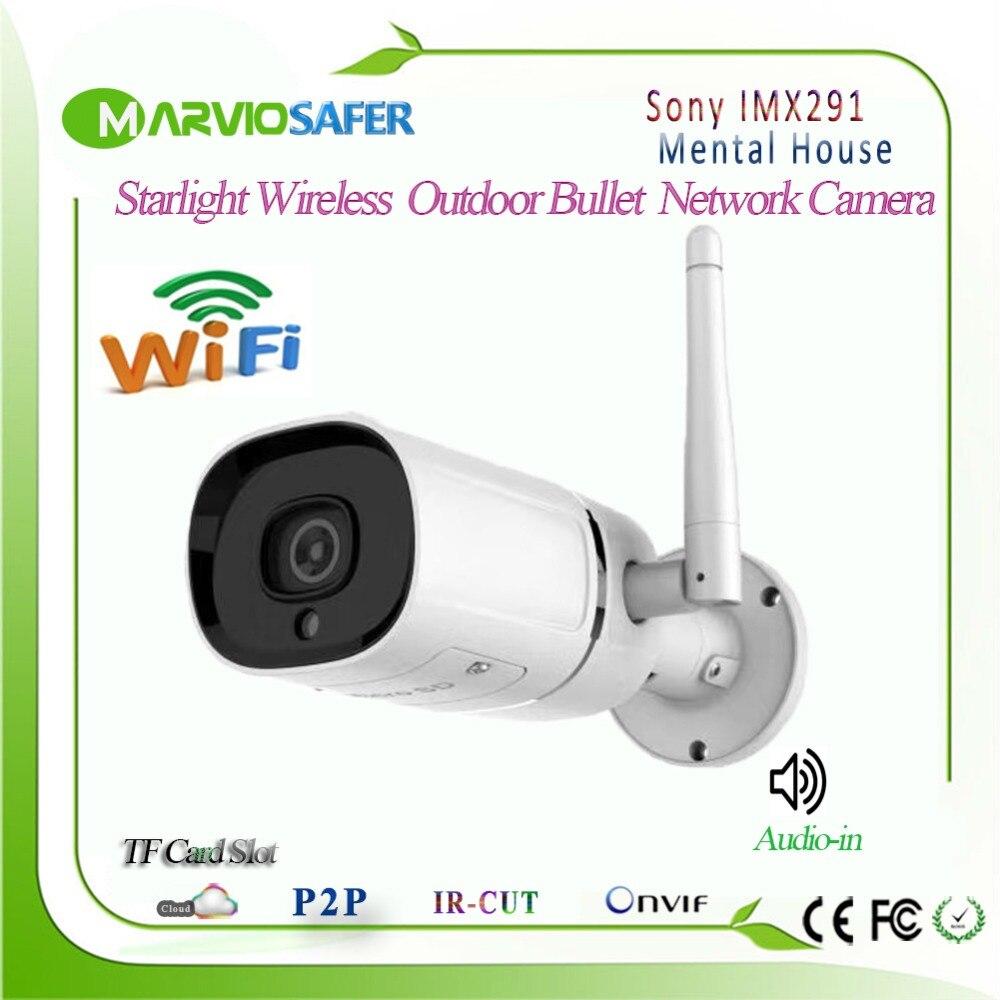 Hi3516C + Sony IMX291 Starvis Wifi Rede IP Câmera da Bala Ao Ar Livre Starlight IPCam Apoio Max 128G Cartão TF de Áudio onvif RTSP