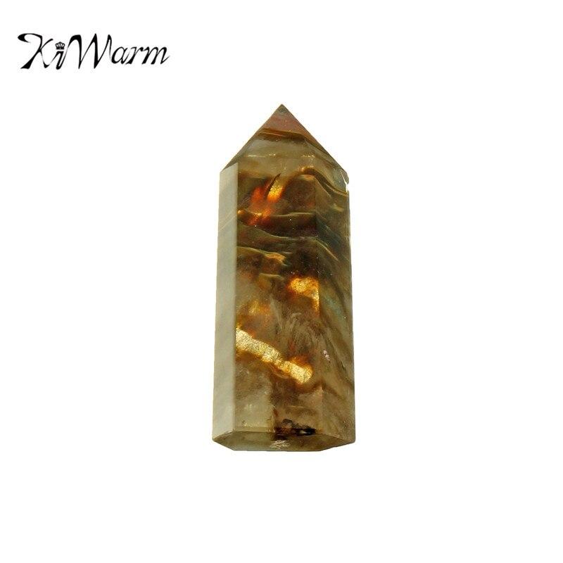 KiWarm редкий симпатичный желтый кристалл кварца одиночный Прерванный палочка исцеляющий образец драгоценный камень узоры минералов для дом...