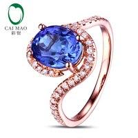 7x9mm Ovale Violet Bleu Tanzanite 0.32ct Diamants 14kt Or Rose Bague De Fiançailles De Mariage