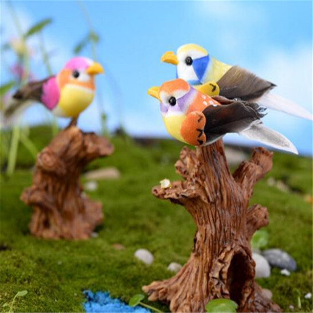 5PCS Mini Simulation Birds Animals Figures Micro Landscape Fairy Garden  Figurines Decoration Miniature/bonsai Ornament