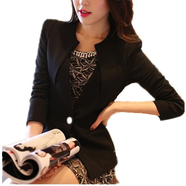 on sale bcefe 4f572 US $16.92 15% di SCONTO|Donne Giacca 2018 Manica Lunga Estate Feminina Suit  Blazer Donna Giacca Corta Donna Bianco Nero One Button Office Blaser in ...
