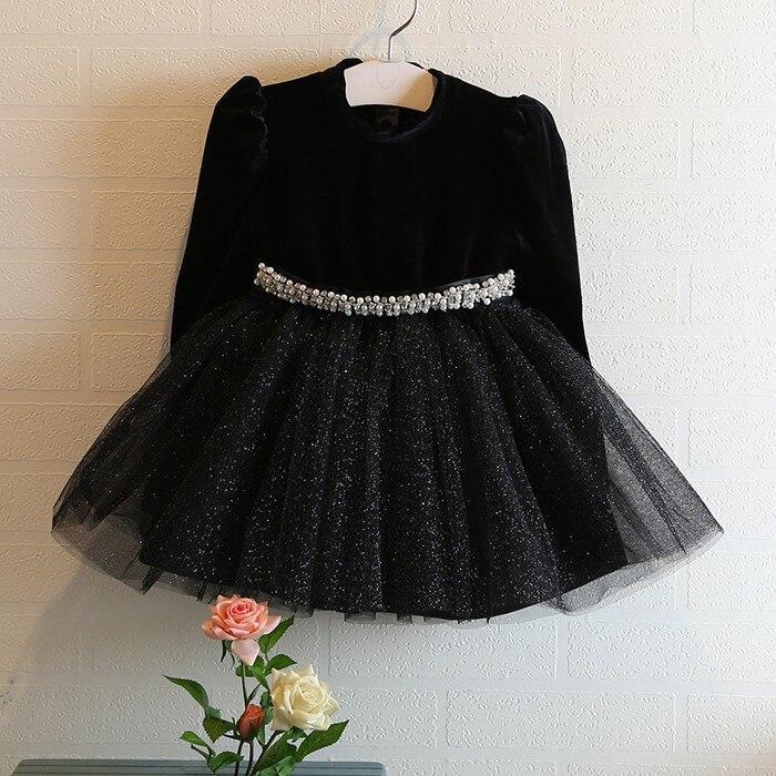 2015 Autumn Winter Girls Black Princess Dress Long Sleeve O neck ...