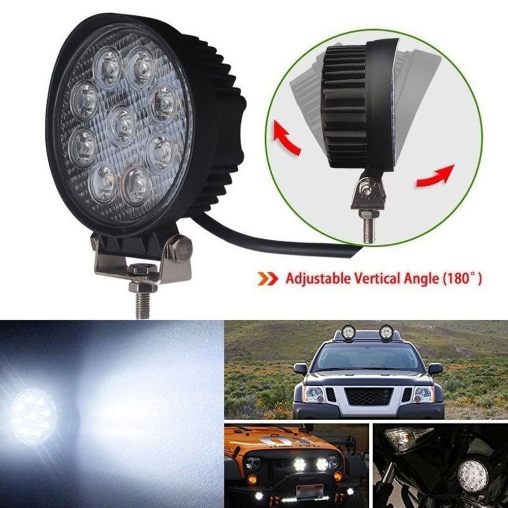 1PC DC 10-30V 27W LED Round Work Light for Motorcycle Driving Offroad Boat Car Tractor Truck 4x4 SUV ATV Spot Light