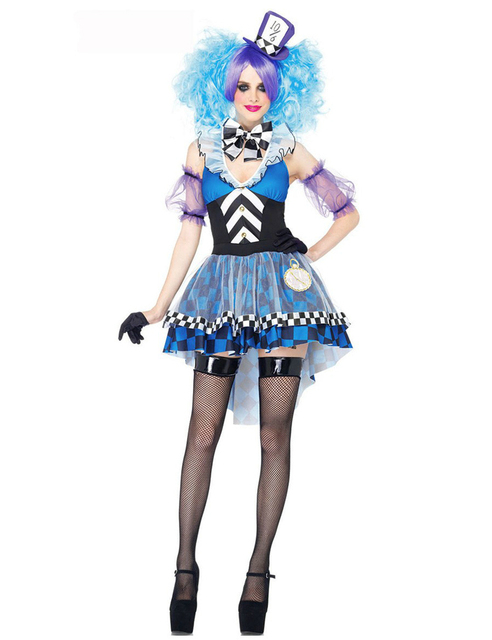 ladies Harley Quinn Costume sexy Women Funny Clown Costume Adult Circus Cosplay Carnival Costumes Women clothes