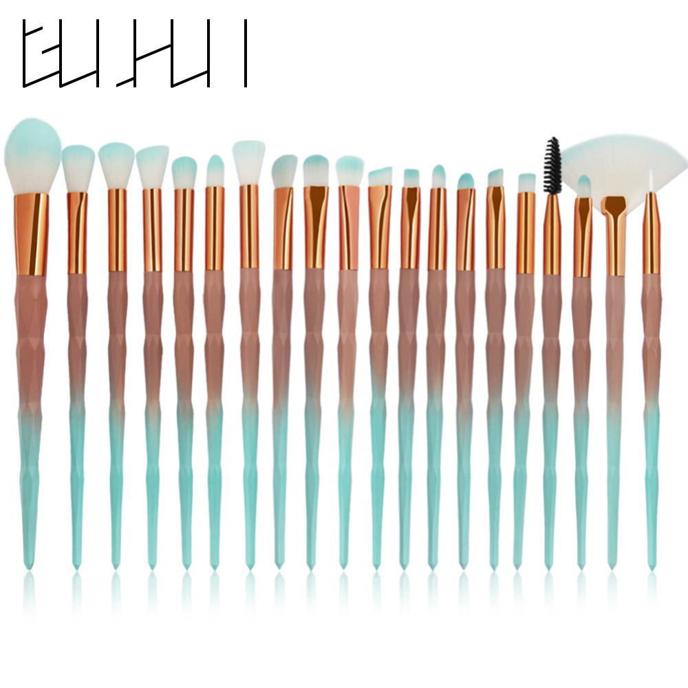 20pcs Diamond Makeup Brushes Set Professional Foundation Eye Shadow Eyebrow Eyelash Powder Blusher Cosmetic Make Up Brushes Kit miss gorgeous makeup brushes set powder foundation steel eyelashes comb combination brush eye shadow eyelash eyeliner eyebrow