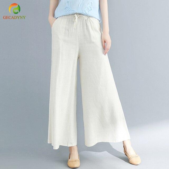 Демисезонный одноцветные штаны-шаровары конопли промах свободные Для женщин брюки из хлопка и льна oversize пояса широкие брюки клеш брюки женские