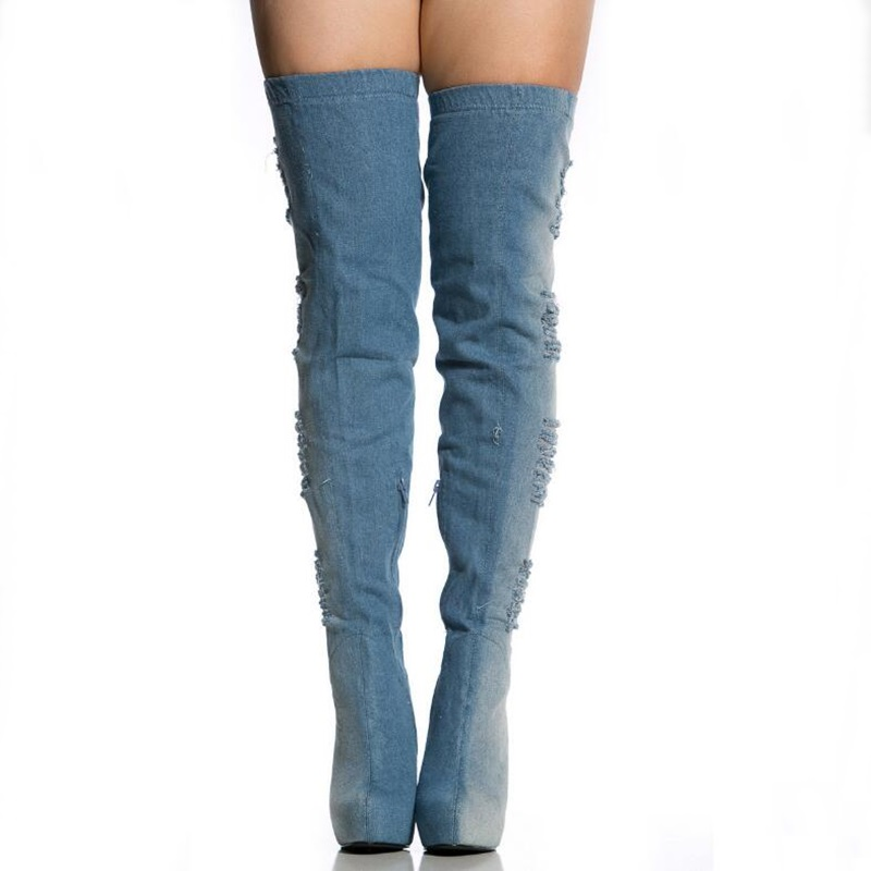 Wash Ripped Jean Thight High Latex Boots Thin Heel Motorcycle Partform Boots Patchwork Side Zipper Woman Summer Boots