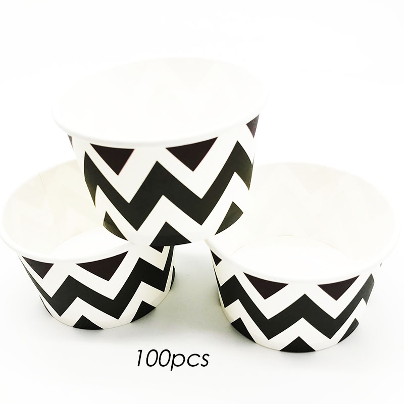 100pcslot black chevron theme ice cream cups chevron theme birthday party supplies black chevron theme disposable cups