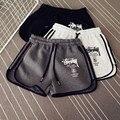 Женщины удобные шорты шнурок Эластичный Пояс шорты женские письма повязки тренировки комбинезоны для женщин фитнес шорты T563