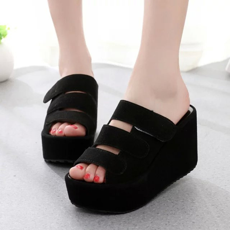 Hung Yau Summer Platform Wedges Peep Toe Sandals Female Slippers Slides Women 10 CM High Heel Pumps Creepers Shoes Size 8 phyanic 2017 gladiator sandals gold silver shoes woman summer platform wedges glitters creepers casual women shoes phy3323