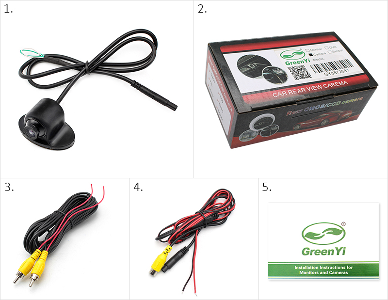 Greenyi mini ccd coms hd night vision 360 degree car rear view car frontrear view camera 2 package 3 video cable 6 meters 4 power camera 5 manual services cheapraybanclubmaster Gallery