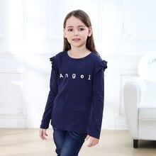 Новое поступление; весенне-Осенние футболки с длинными рукавами для девочек; модные детские футболки с героями мультфильмов; одежда