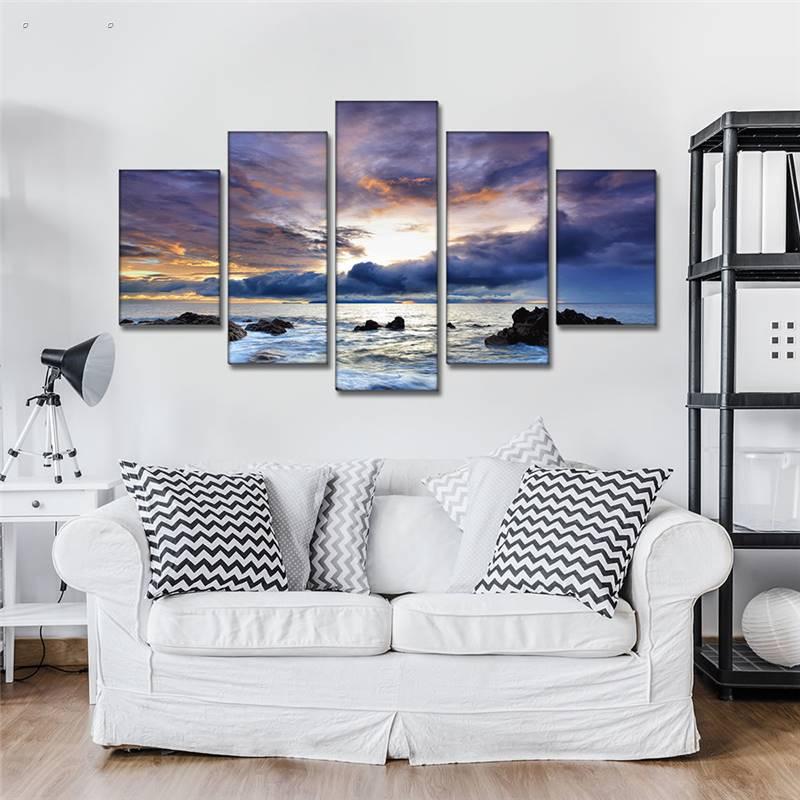 5 paneles HD impreso mar de nubes paisaje marino arte Pintura ...