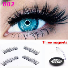 Three Magnets 3D Magnetic Eyelashes No Glue Needed Mink Material Eyelashes Magnet 1 pair 3D Individual Eyelas