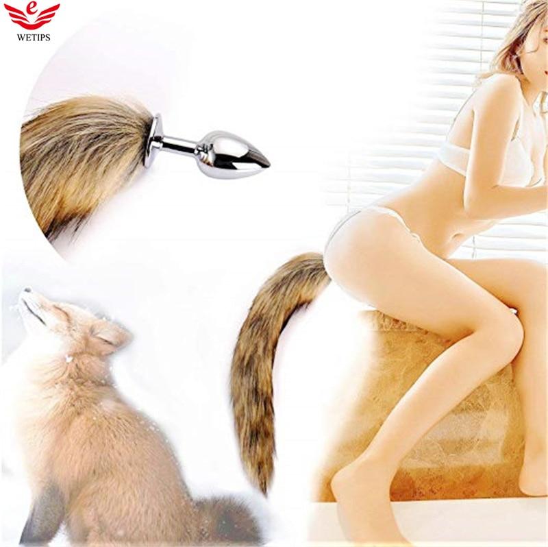 Wetips Costume Tail Fox Tail Plug Headband Cosplay Bidet Enema Anal Tail Plug For Women Romance Roleplay Accessory Foxtail Plug