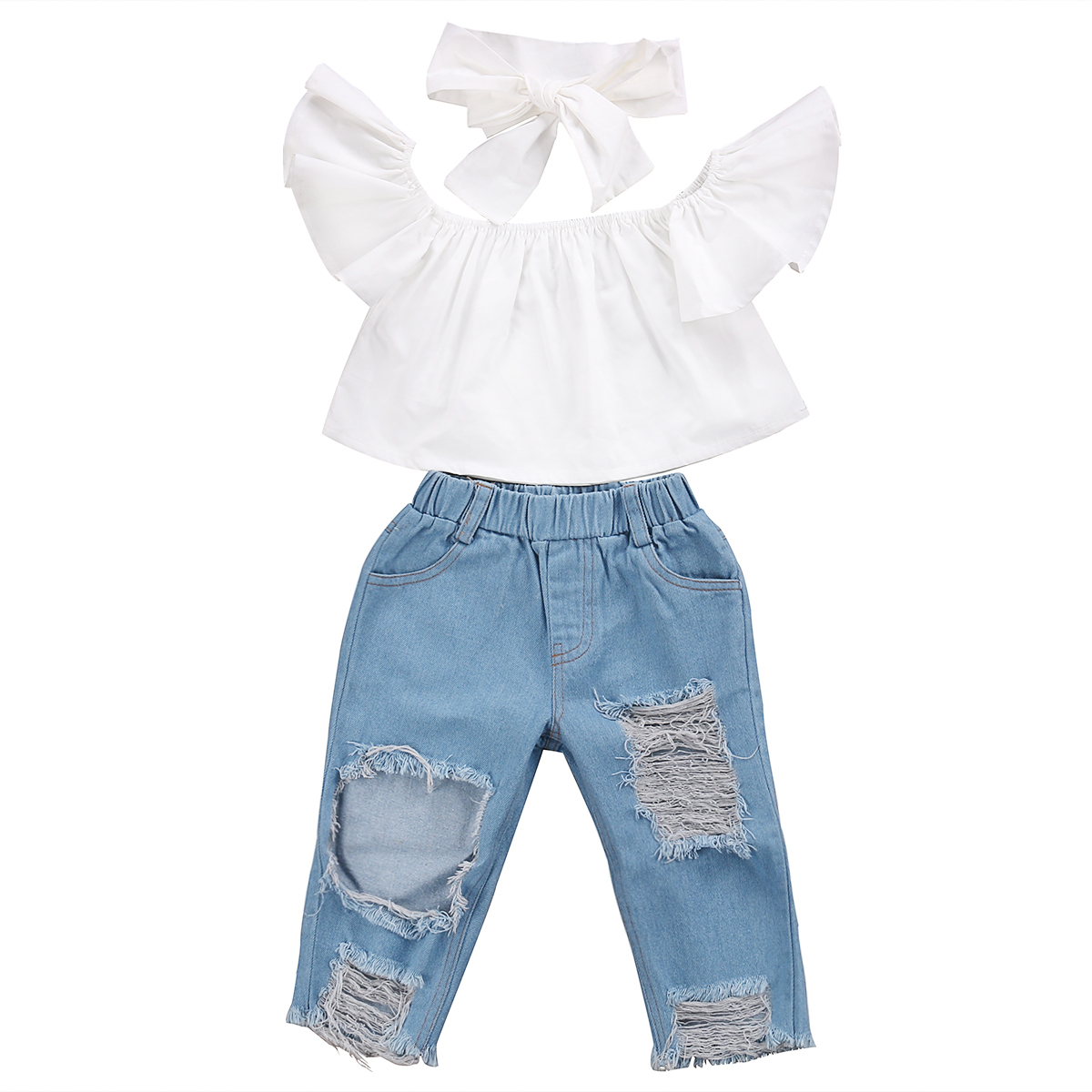 Girl Off Shoulder Tops Short Sleeve Denim Pants Jeans Headbands 3pcs Outfits Set Clothing Toddler Girls Kids Clothes Sets girls tops cute pants outfit clothes newborn kids baby girl clothing sets summer off shoulder striped short sleeve 1 6t