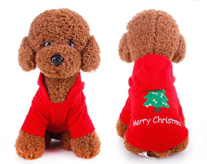 c1d866b98a2d6 De noël Rouge Pet Chien Vêtements Salopette à capuche Manteau Pour Chien  Veste Vêtements Mignon Chiot Costume pour Chihuahua Teddy Chat Chiot À  Capuche