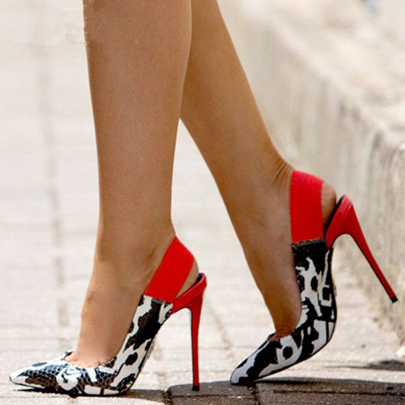 GOOFLORON NEW Women's  Pumps Shoes, Super High Heels, Multi-colored Snake-grain Pointed Shoes, 12cm Pointed Sexy Women's Shoes