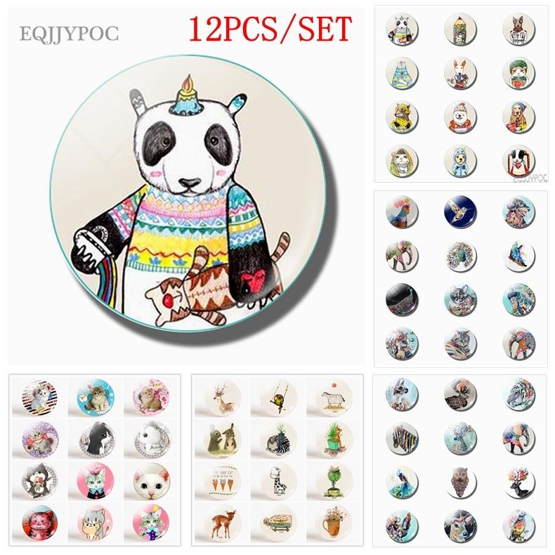 Магнитный холодильник в виде мультяшных животных, 25 мм, стеклянные магнитные наклейки в виде панды, бабочки, собаки, слона, павлина, кошки, колибри