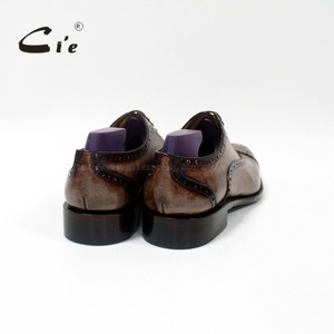 Image 5 - cie Bespoke Handmade Semi brogue Medallion Square Toe 100%Genuine Calf Leather Mens Dress Oxford Goodyear Welted Men Shoe OX 09