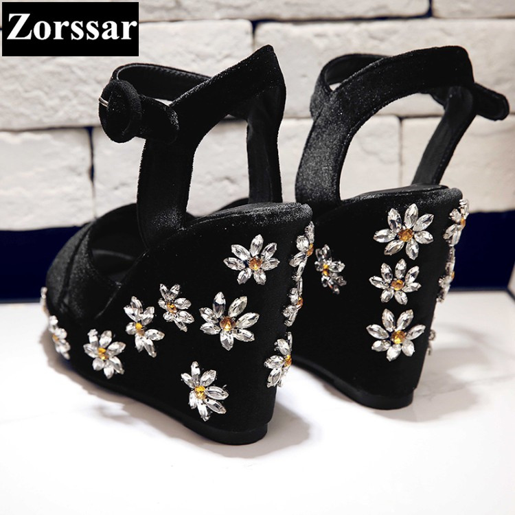 Summer Womens peep Toe rhinestone wedges High heels sandals women Mary Jane pumps 2017 NEW fashion Suede woman Platform shoes plus size 2017 new summer suede women shoes pointed toe high heels sandals woman work shoes fashion flowers womens heels pumps