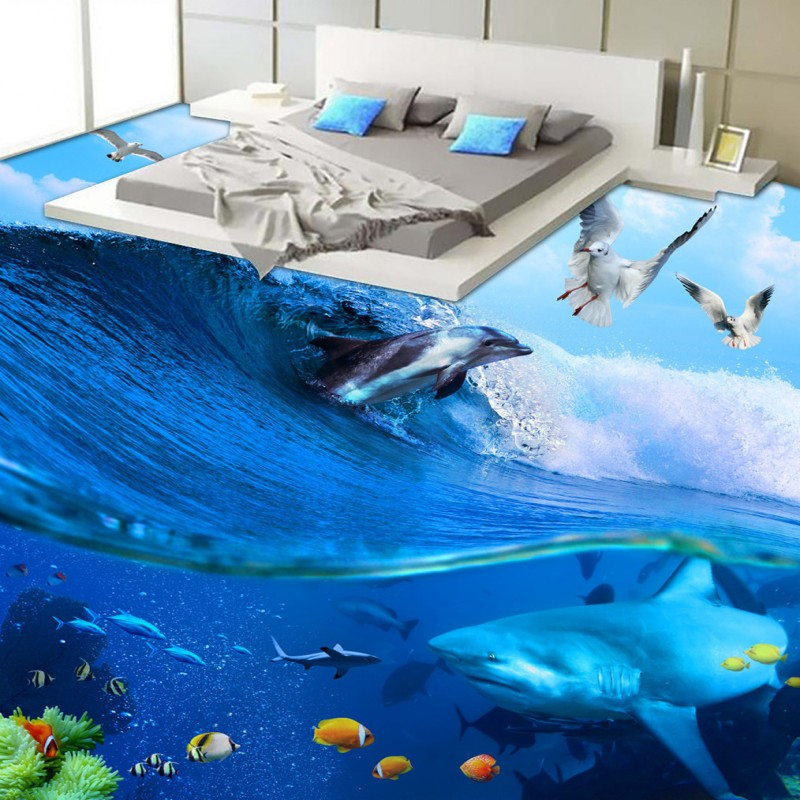 Free Shipping Beautiful waves dolphin seagull 3d bedroom floor thickened wear non-slip kitchen mall bathroom flooring mural free shipping floating suspension mountain dolphin 3d outdoor floor painting wear non slip bedroom bathroom flooring mural