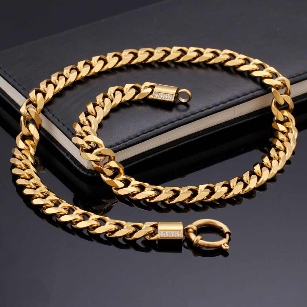 KALEN Titanium Stainless Steel Large Cuban Link Chain Necklace For Men Hiphop Rock Fashion Jewelry 500*11mm