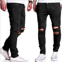 Mens Casual Skinny Jeans Pants Men Army Green Black Slim Pencil Jeans Ripped Beggar Jeans With