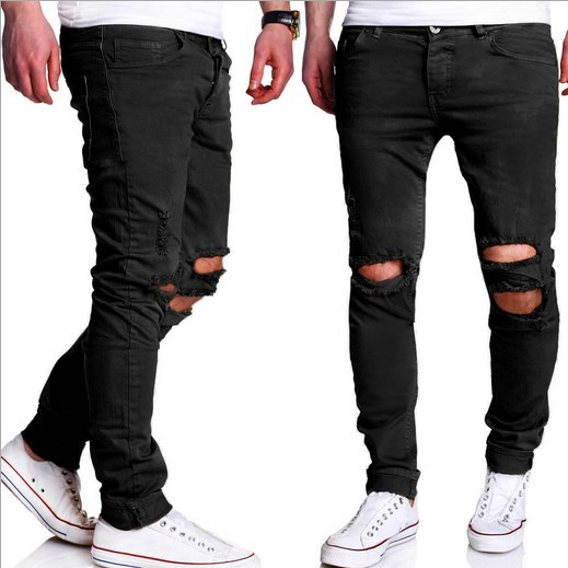 Mens Casual Skinny Jeans Pants Men Army Green Black Slim Pencil Jeans Ripped Beggar Jeans With Knee Hole For Youth Men