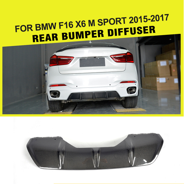 For BMW X6 F16 xDrive35i xDrive50i M Sport Utility 4-Door 2014 - 2018 P Style Carbon Fiber Rear Diffuser Lip Spoiler Splitters