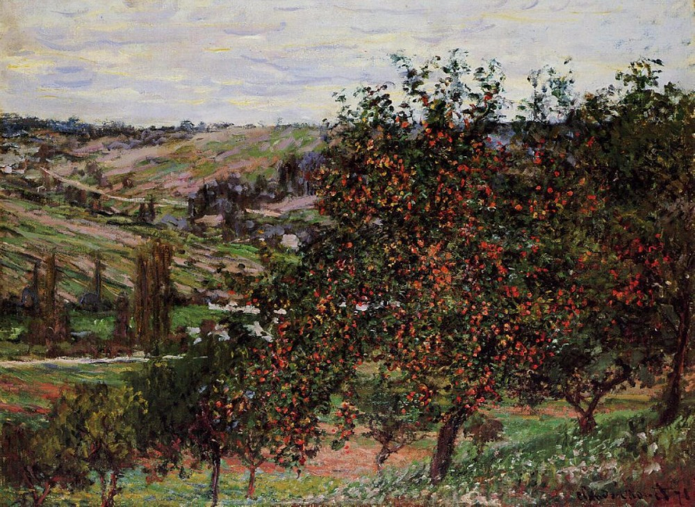 100% handmade Claude Monet Oil Painting Reproduction on linen canvas,apple-trees-near-vetheuil,free shipping,museum quality100% handmade Claude Monet Oil Painting Reproduction on linen canvas,apple-trees-near-vetheuil,free shipping,museum quality