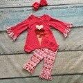 Nova deisgn venda quente do bebê meninas dia Dos Namorados roupas sorvete roupas com coração tribal Azect calças plissado com headband
