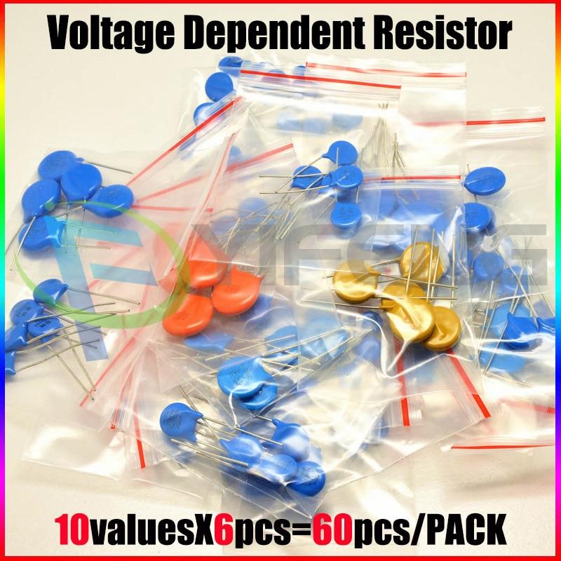 60pcs/lot 10values X6pcs Commonly Resistors 5D471K~10D821K 10D Set Varistor Resistor Pack Assorted Kit